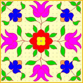 Lots of rangoli patterns are