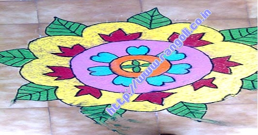 flower leaf rangoli