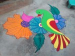 flower and parrot rangoli