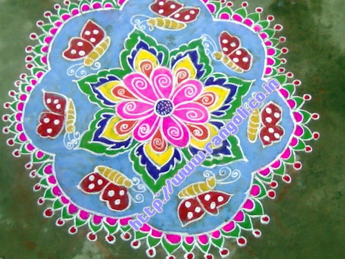 An Example of Butterfly and Flower Kolam.